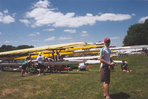Dave Huntoon with boats at Nationals in Camden NJ 1999